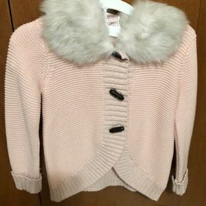 Toddler Pink Button Down Sweater with fur collar.